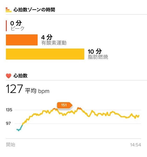 Fitbit Charge2 で運動測定4
