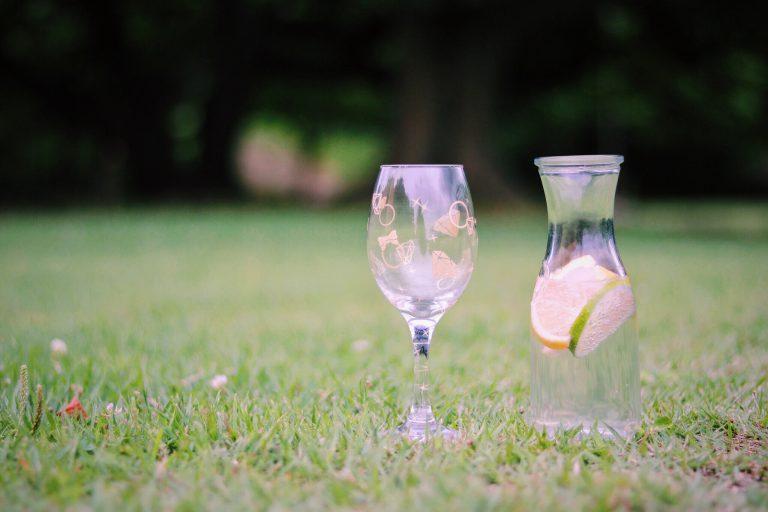 ピクニックに持って来たオシャレなグラスとデキャンタのフリー写真画像