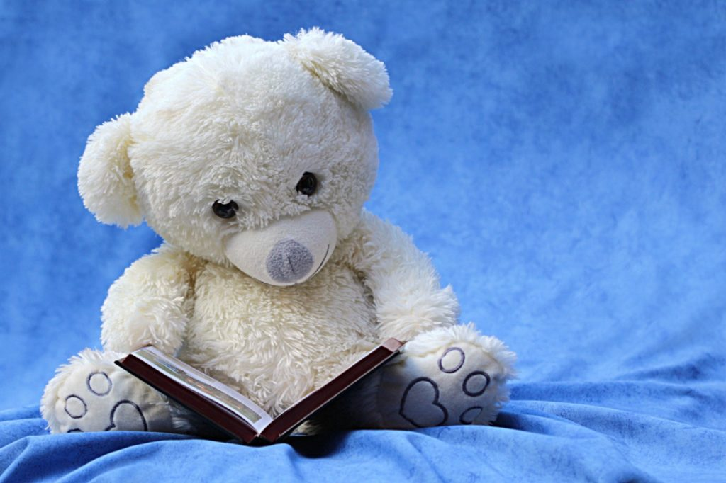 読書するクマのぬいぐるみ
